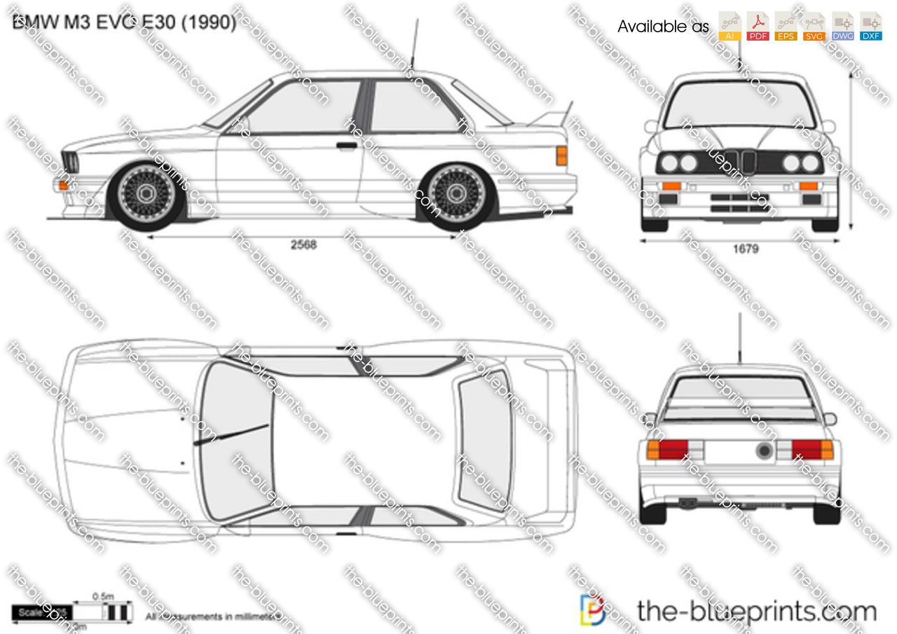 BMW M3 EVO E30 vector drawing