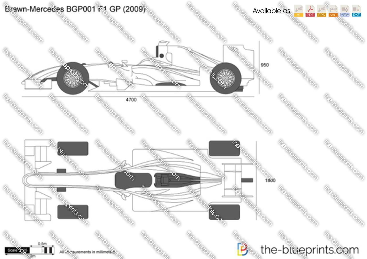 Brawn Mercedes Bgp001 F1 Gp Vector Drawing