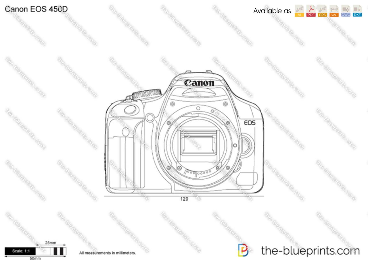Canon EOS 450D vector drawing