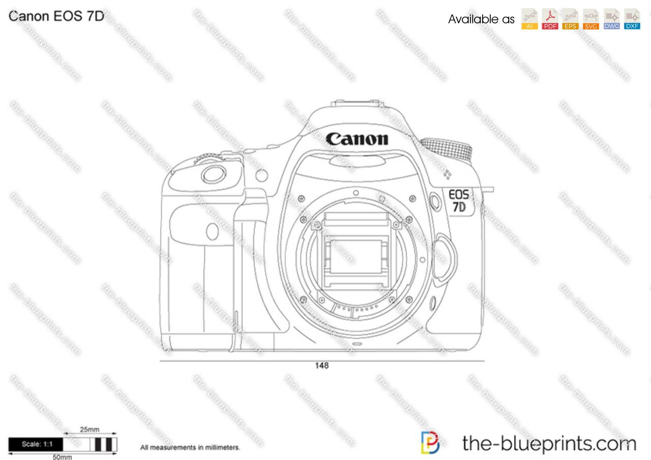 Canon EOS 7D vector drawing