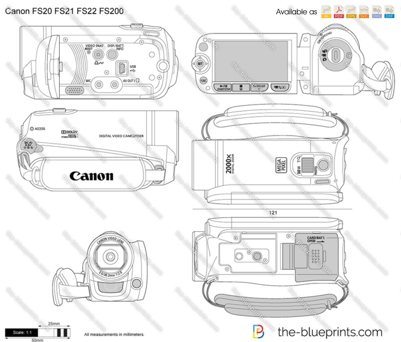 Canon FS20 FS21 FS22 FS200 vector drawing