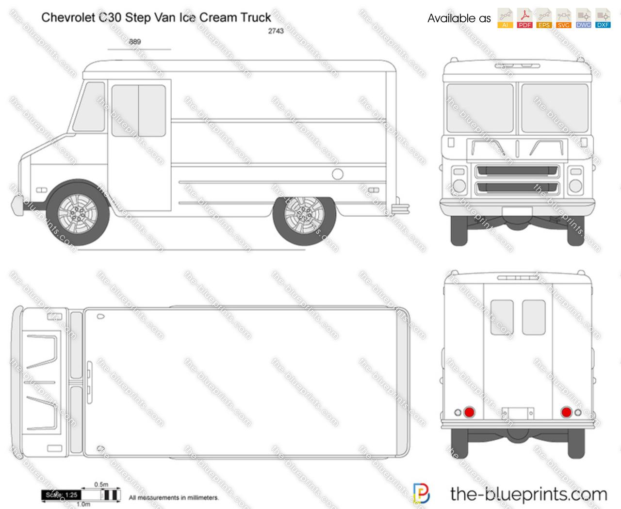 Chevrolet C30 Step Van Ice Cream Truck Vector Drawing