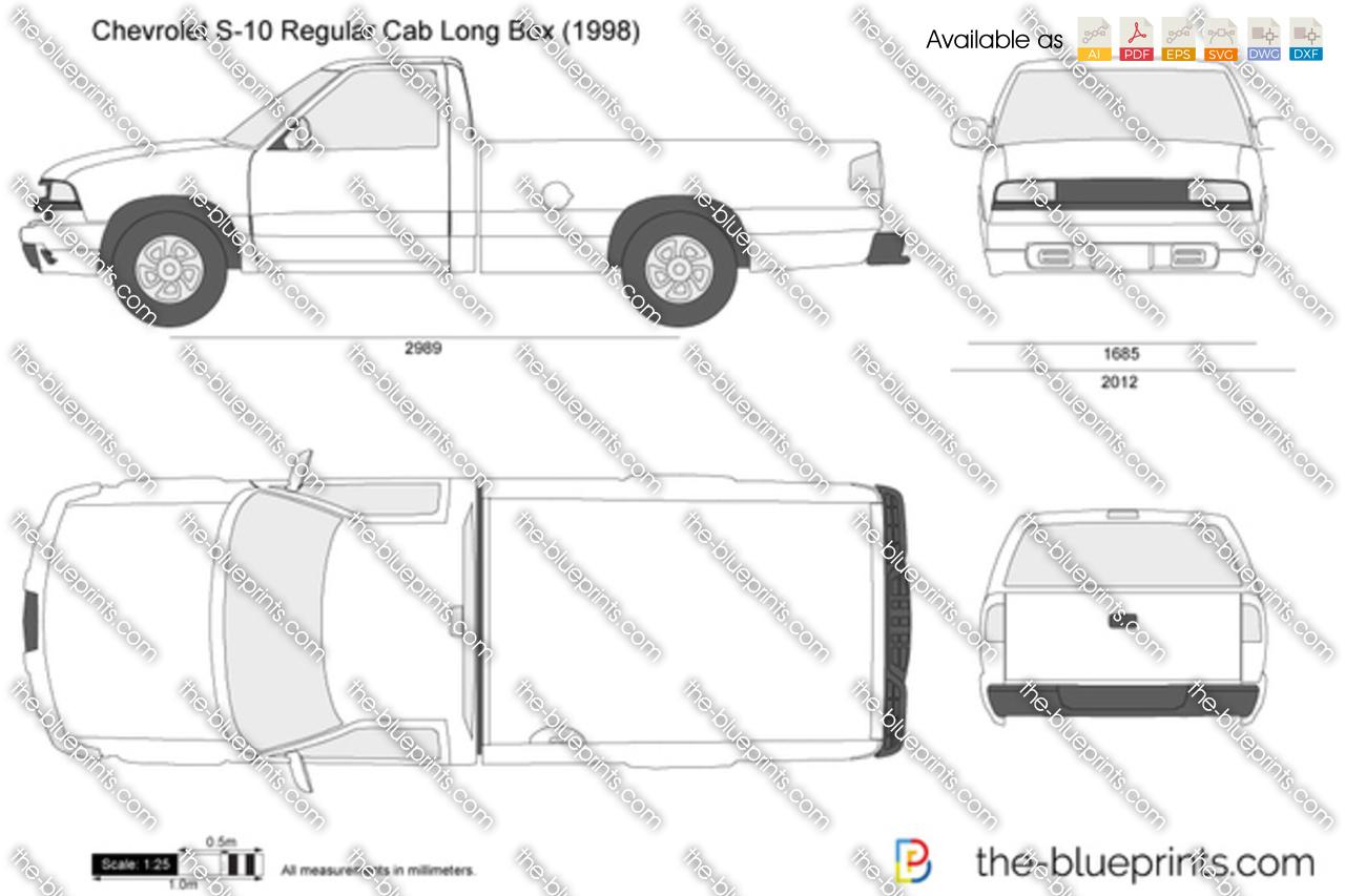 Chevrolet S 10 Regular Cab Long Box Vector Drawing