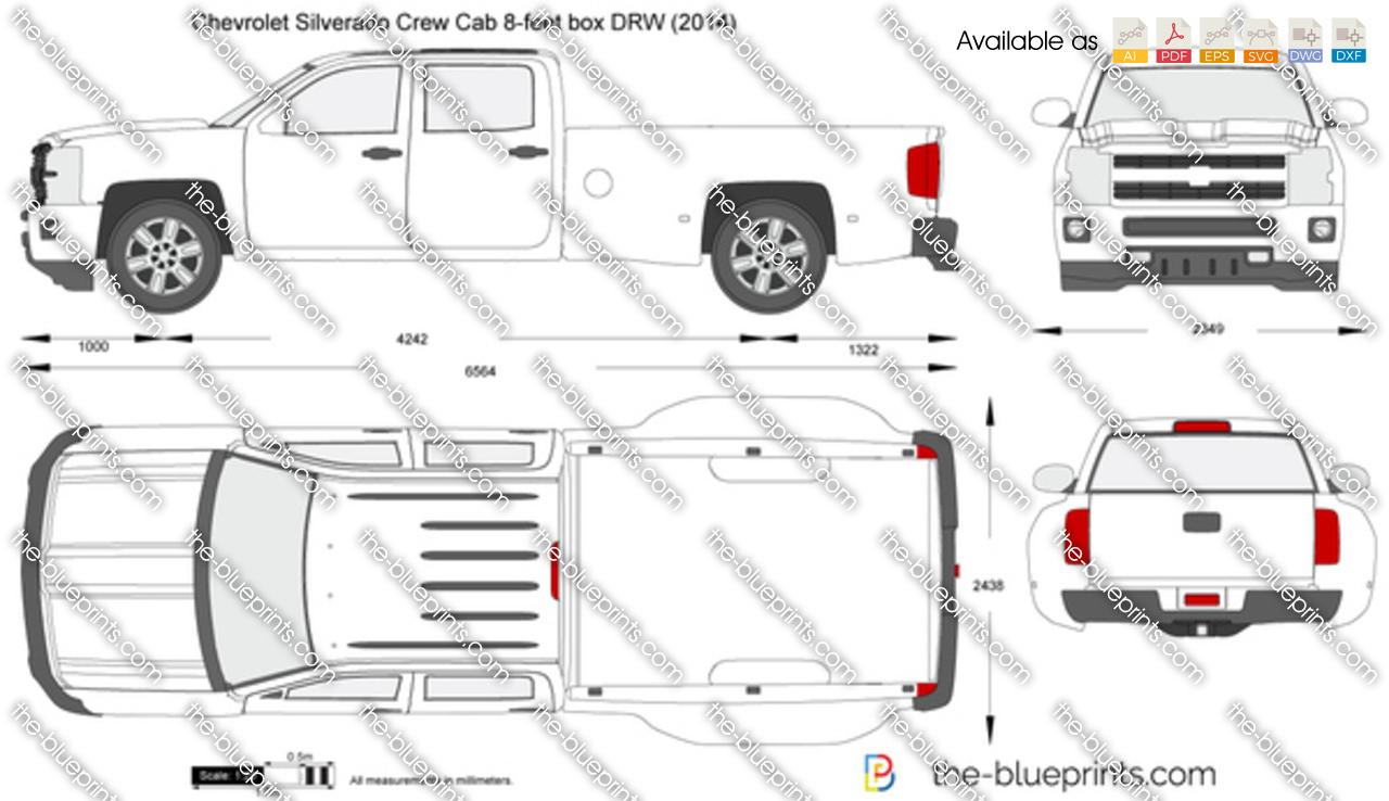 Chevrolet Silverado Crew Cab 8-feet box DRW vector drawing
