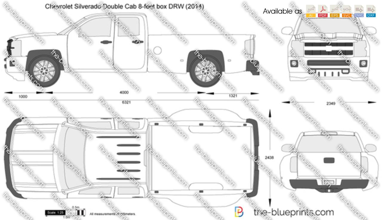 Chevrolet Silverado Double Cab 8-feet box DRW vector drawing