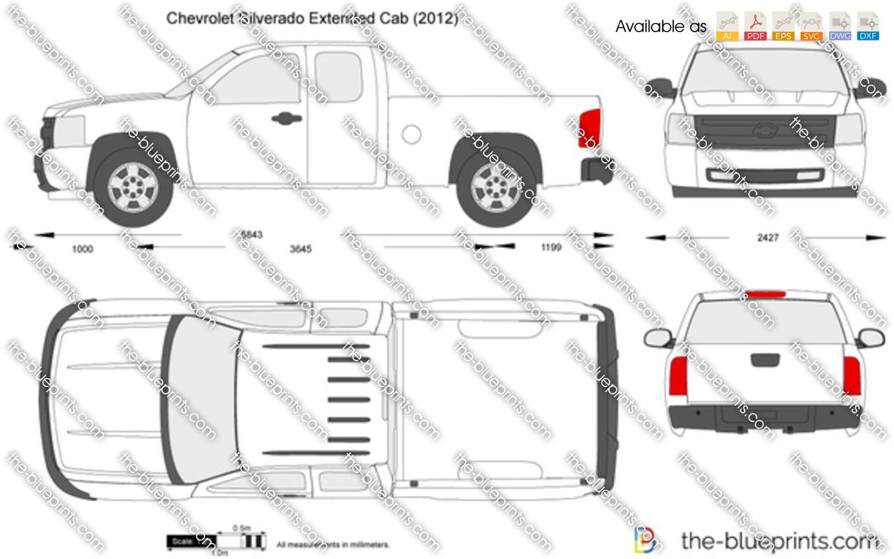 Chevrolet Silverado Extended Cab Vector Drawing