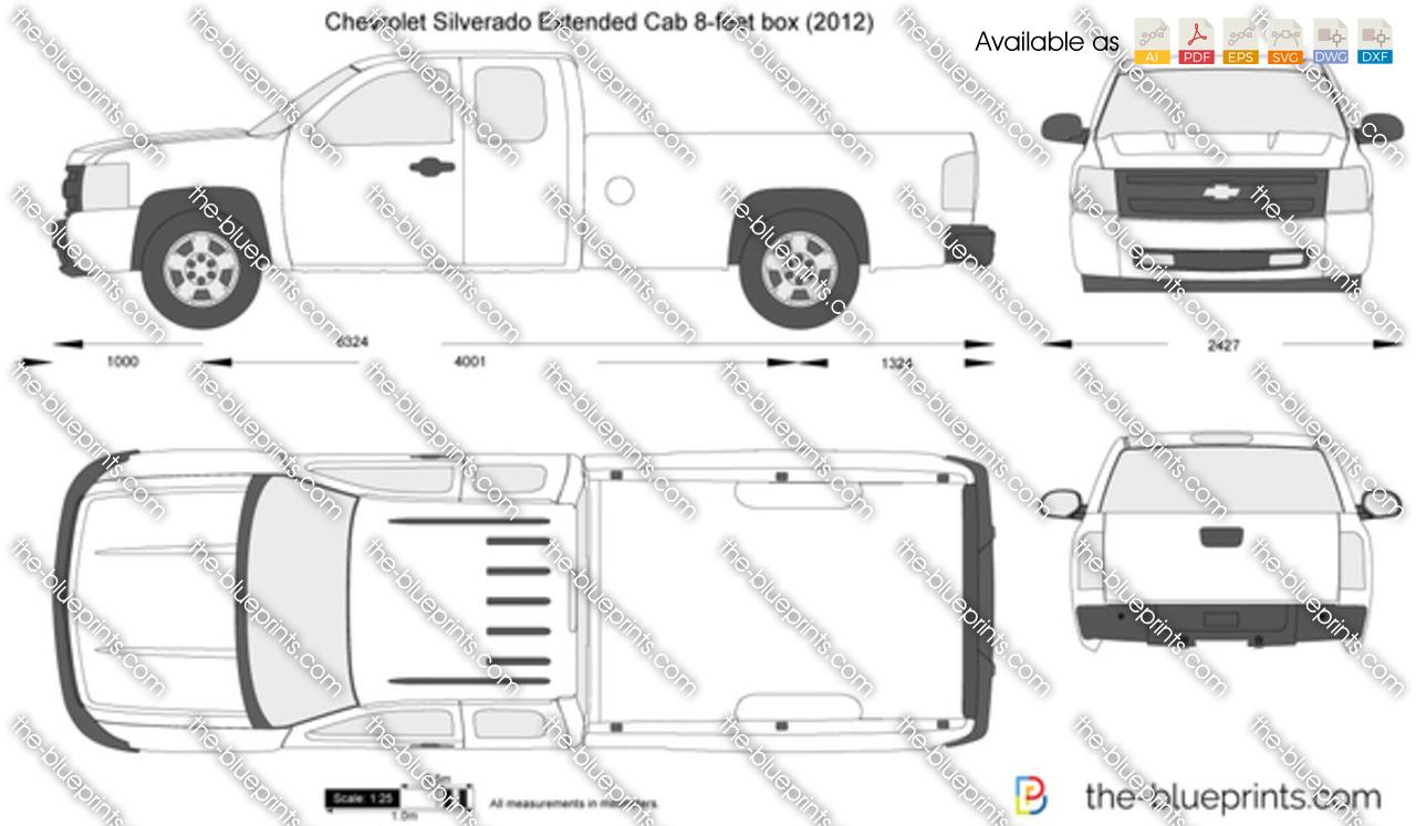 Chevrolet Silverado Extended Cab 8-feet box vector drawing