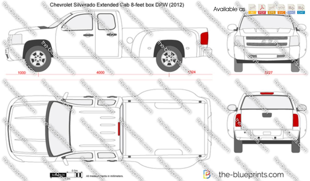 Chevrolet Silverado Extended Cab 8-feet box DRW vector drawing