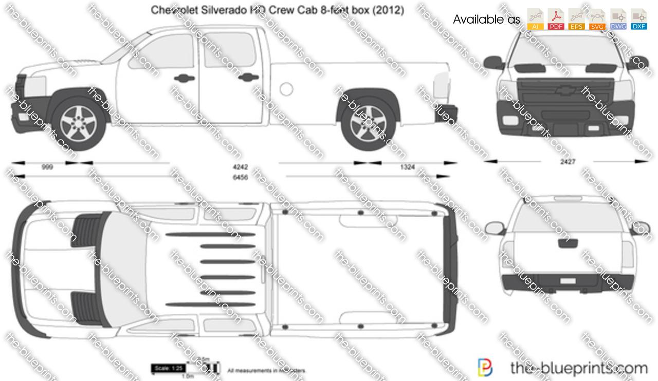 Chevrolet Silverado HD Crew Cab 8-feet box vector drawing