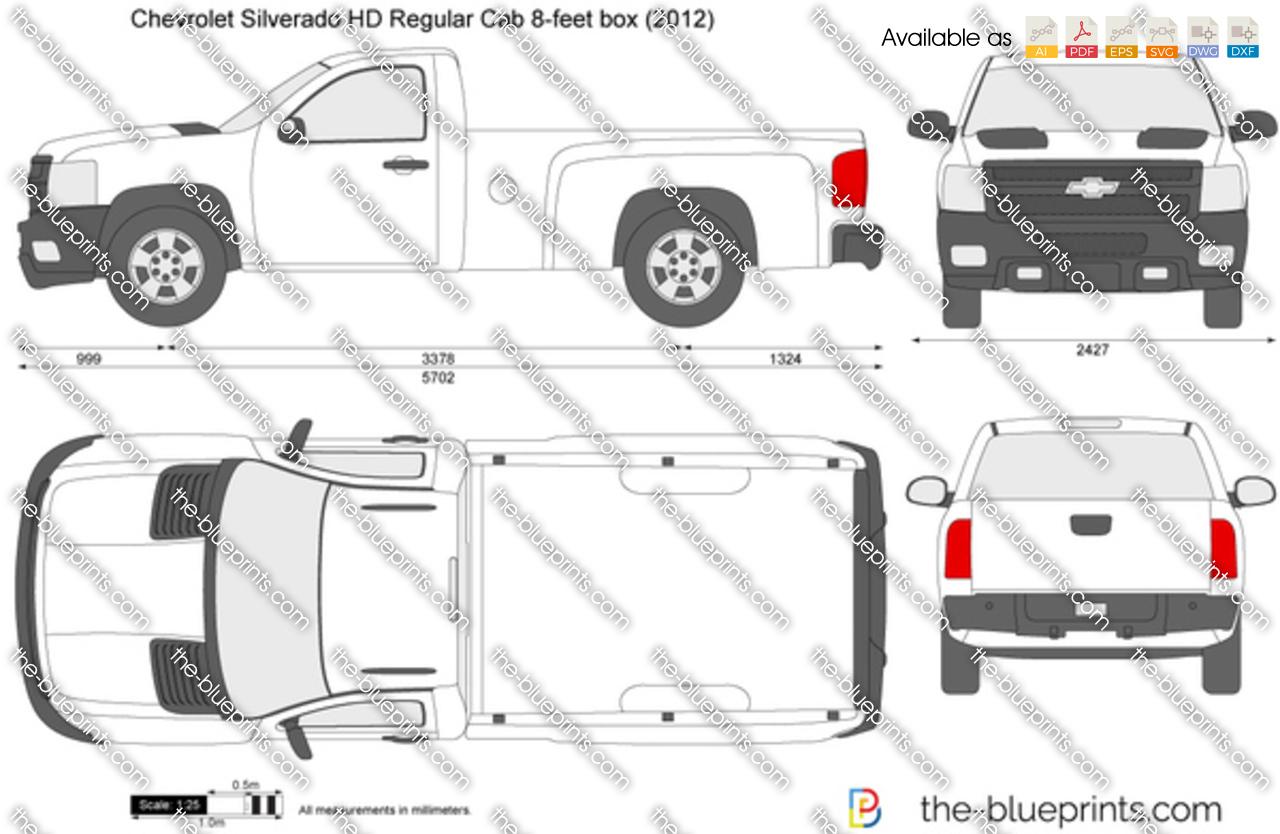 Chevrolet Silverado HD Regular Cab 8-feet box vector drawing