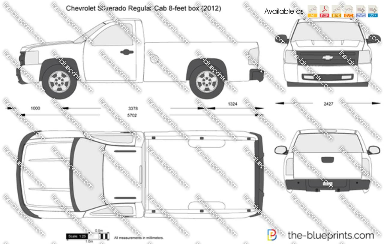 Chevrolet Silverado Regular Cab 8-feet box vector drawing