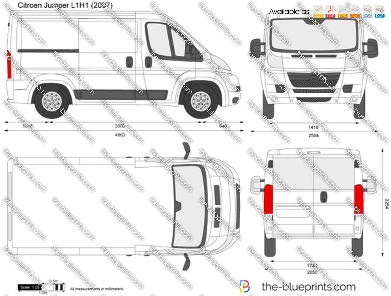 Citroen Jumper L1H1 vector drawing