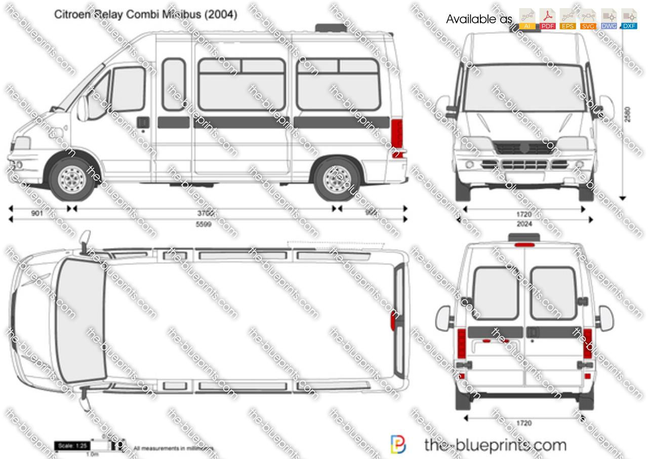 Citroen Relay Combi Minibus vector drawing