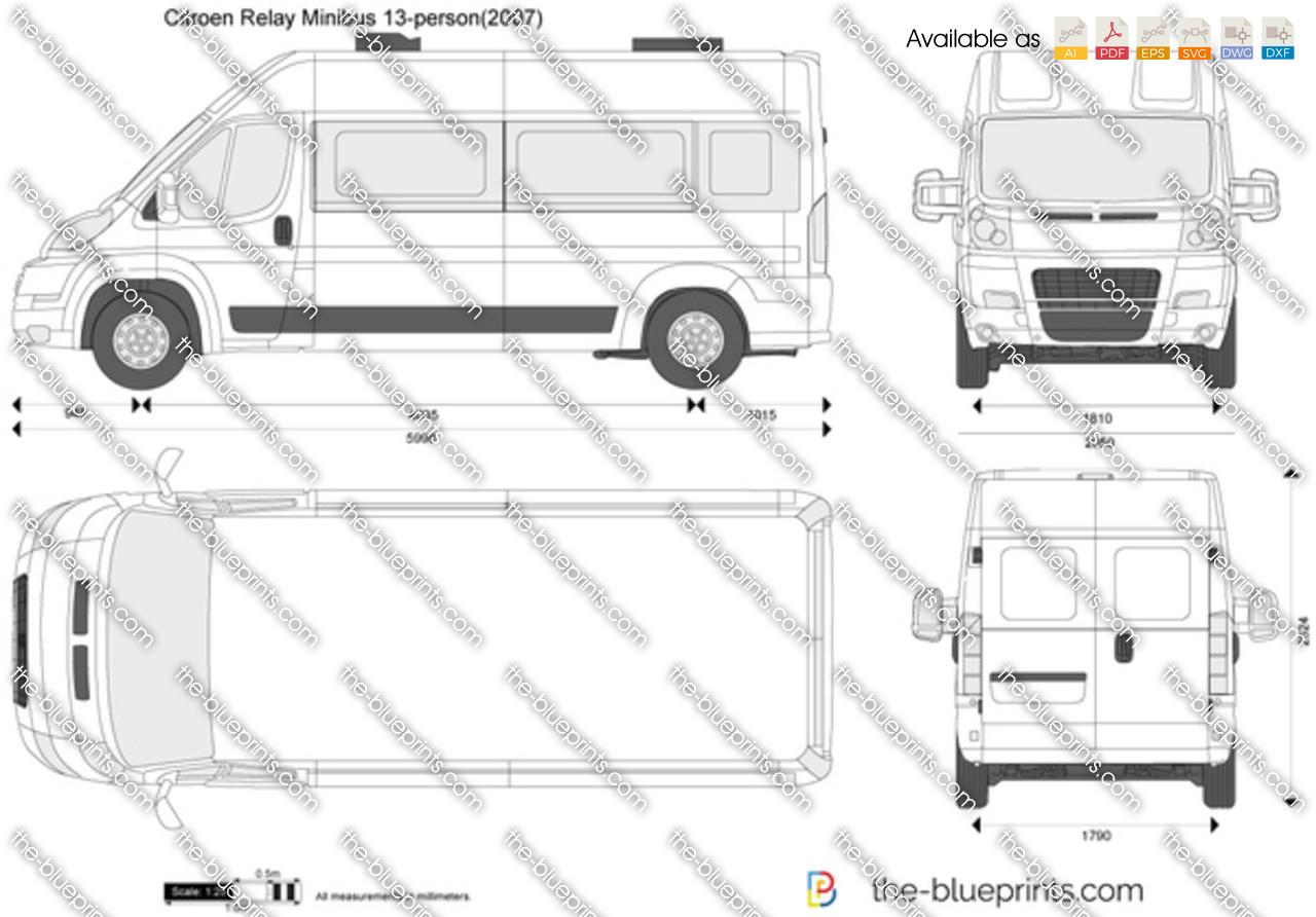 Citroen Relay Minibus 13-person vector drawing