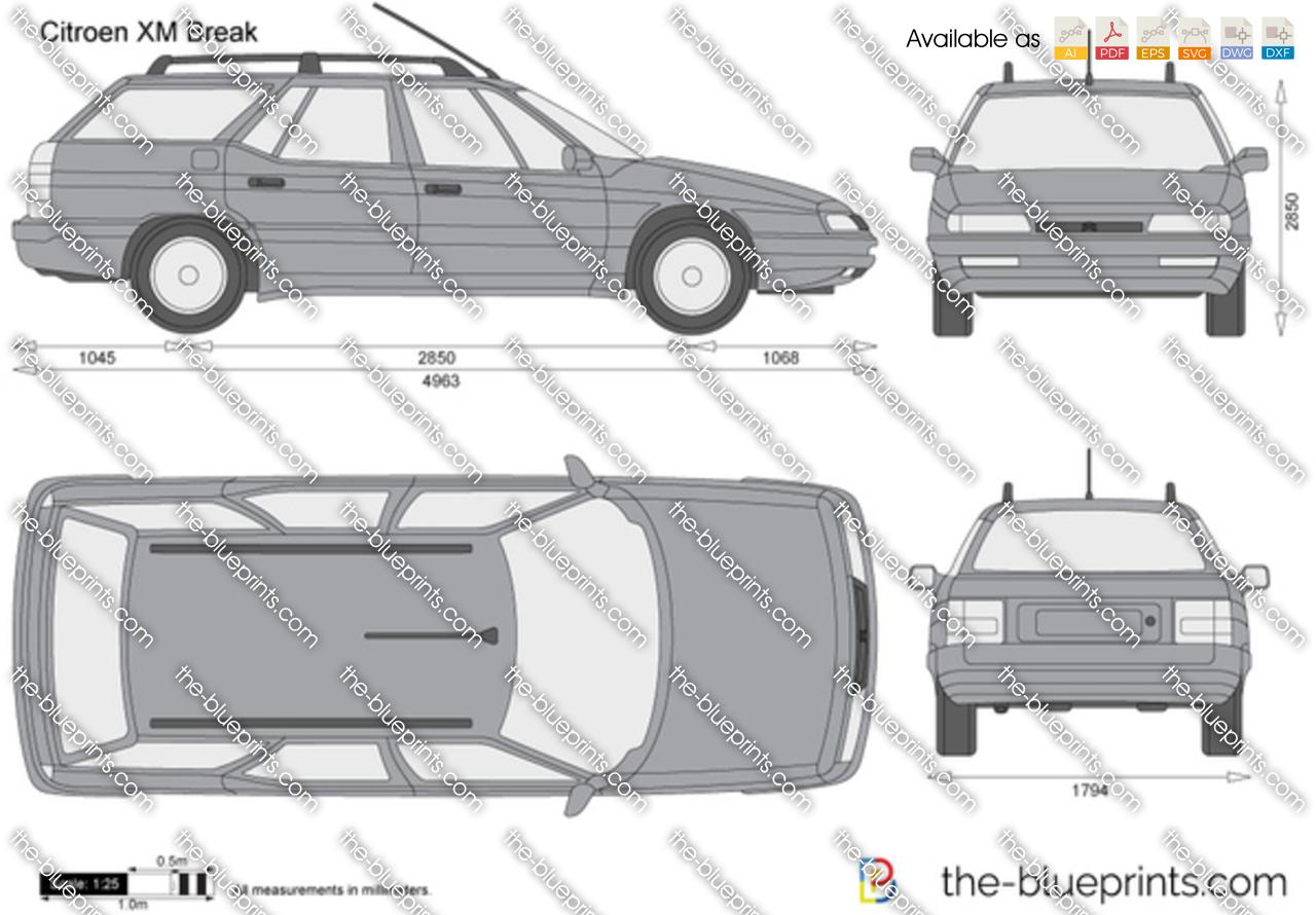 Citroen XM Break vector drawing