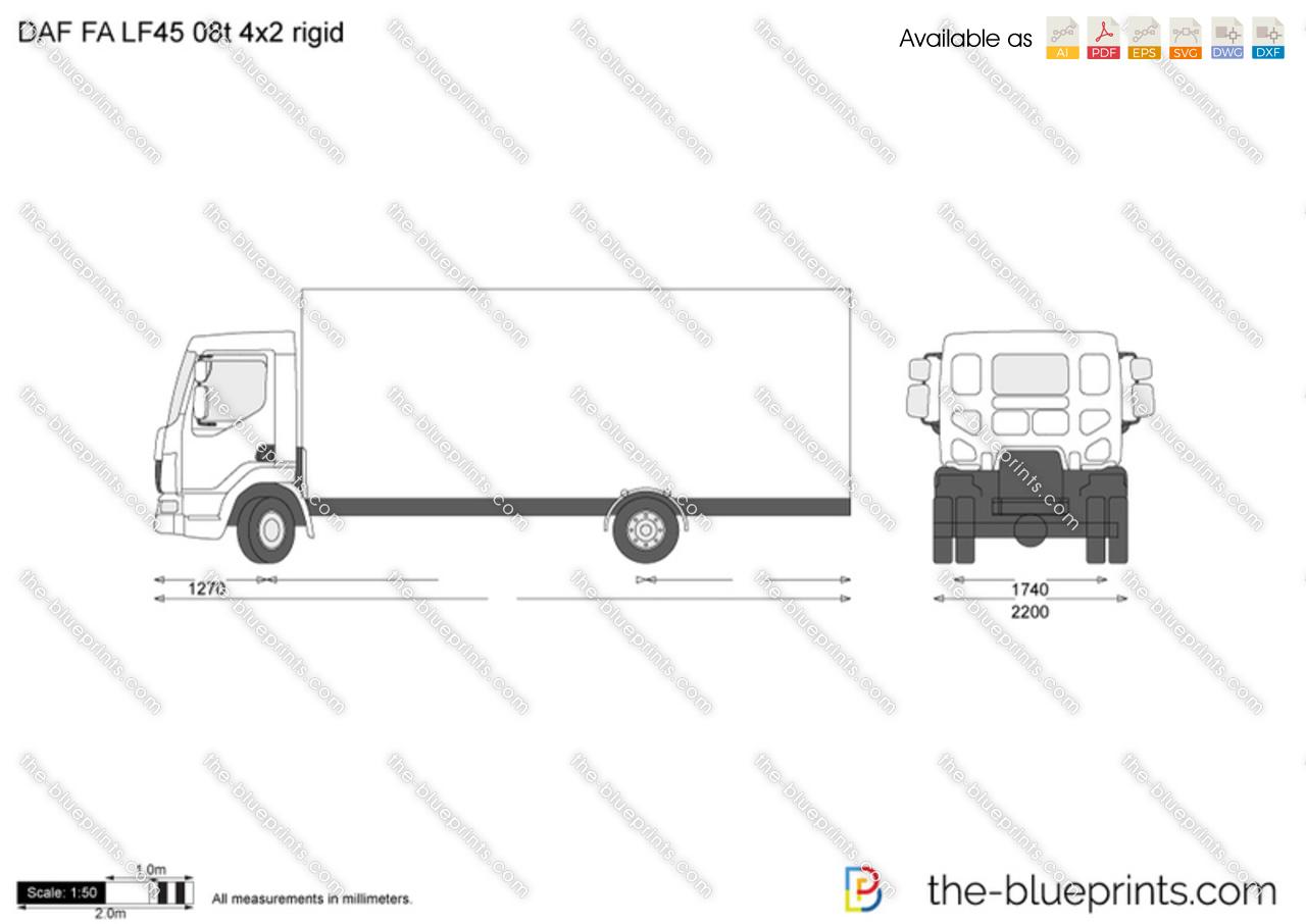DAF FA LF45 08t 4x2 rigid vector drawing