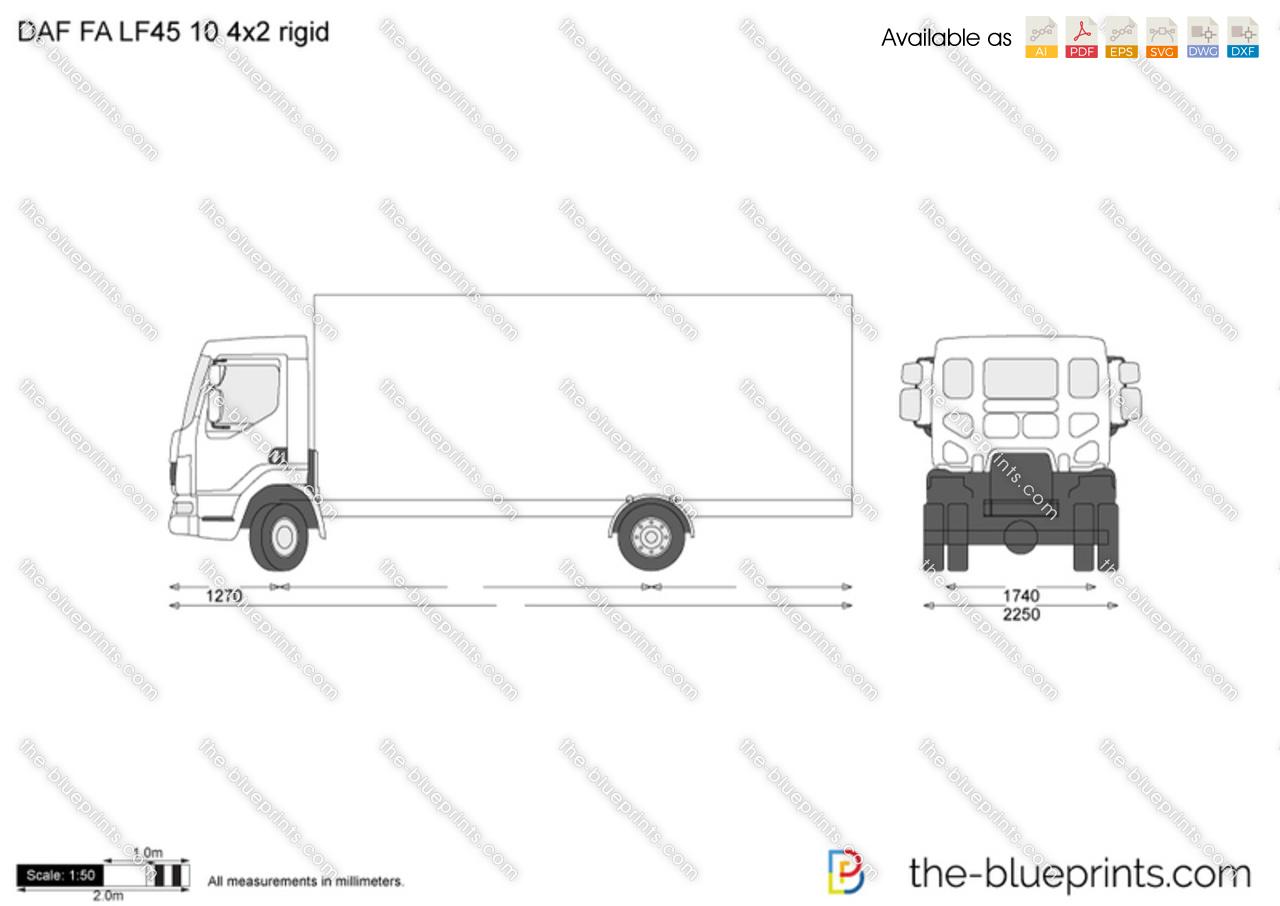 DAF FA LF45 10t 4x2 rigid vector drawing