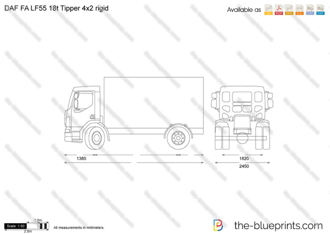 DAF FA LF55 18t Tipper 4x2 rigid vector drawing