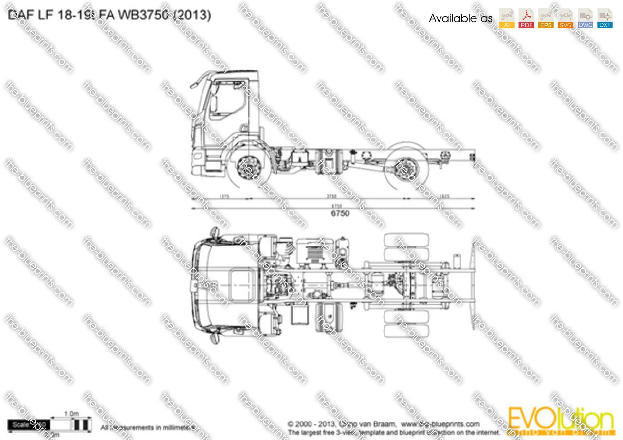 DAF LF 18-19t FA WB3750 vector drawing