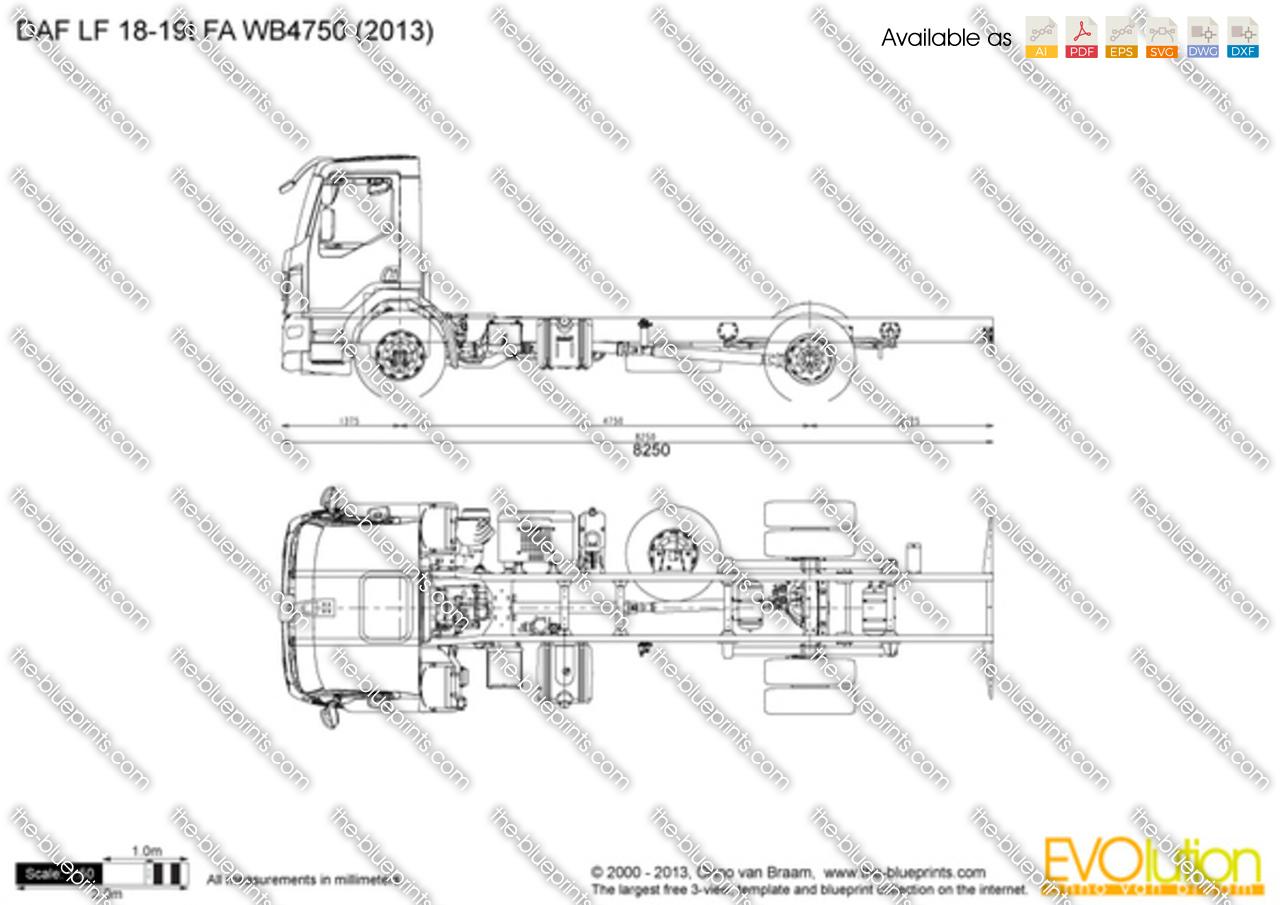 DAF LF 18-19t FA WB4750 vector drawing