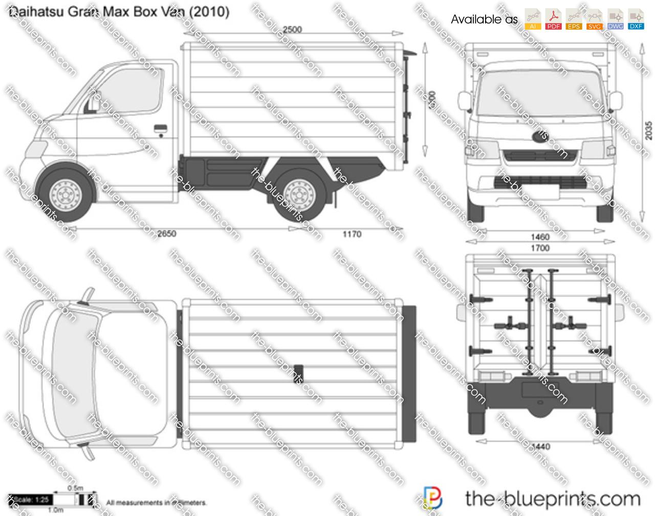Daihatsu Gran Max Box Van vector drawing