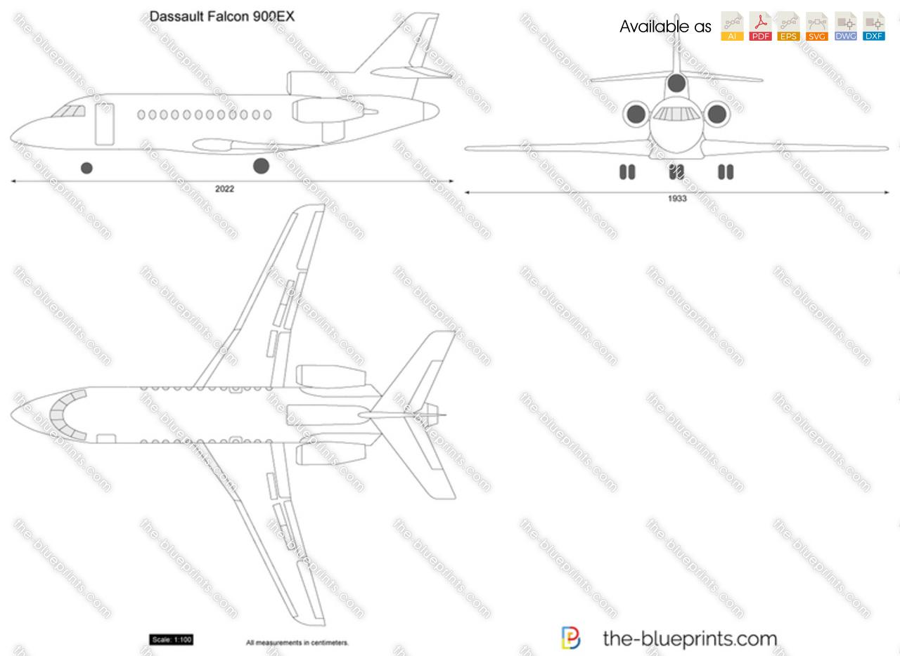 Dassault Falcon 900EX vector drawing