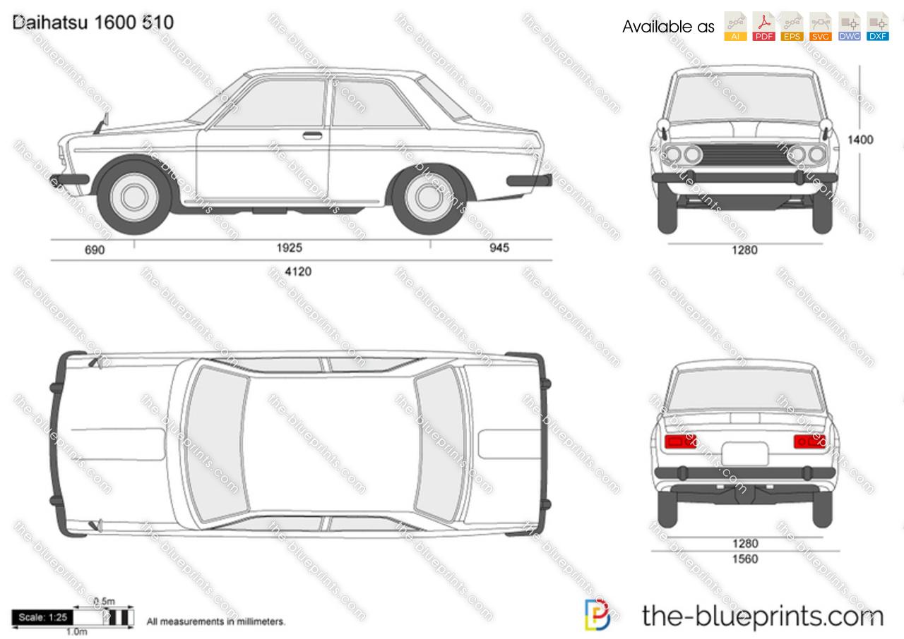 Datsun 1600 510 vector drawing