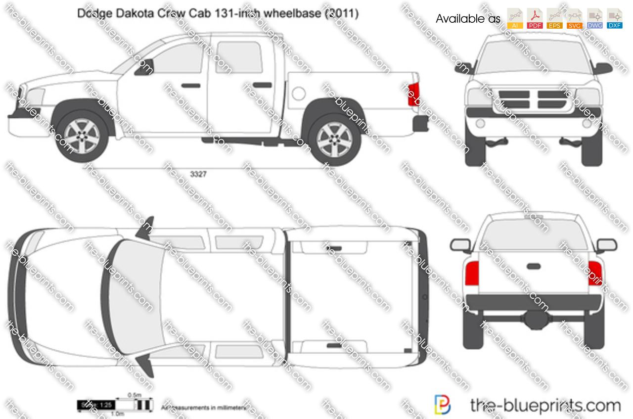 Dodge Dakota Crew Cab 131 Inch Wheelbase Vector Drawing