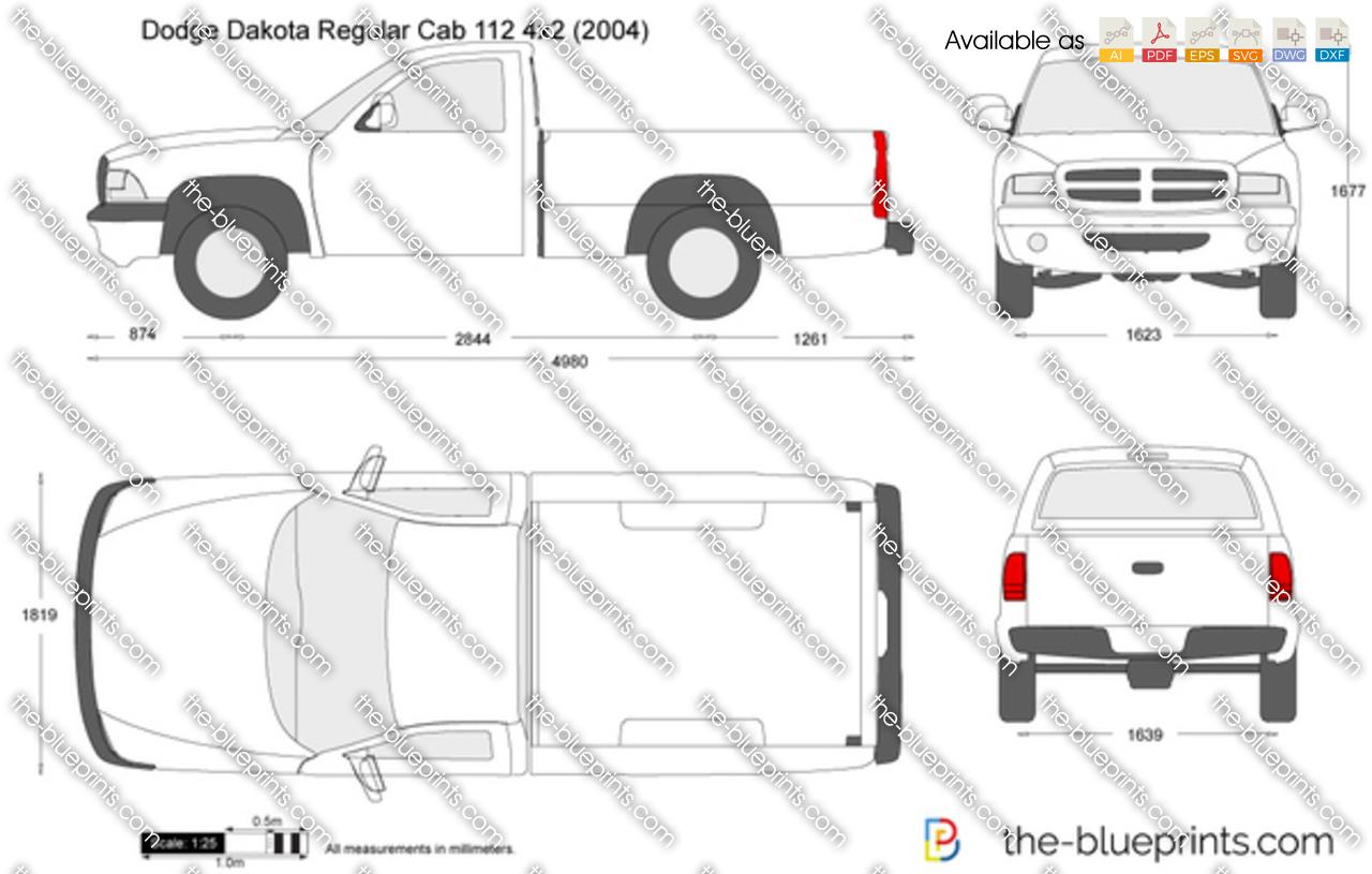 Dodge Dakota Regular Cab 112 4x2 vector drawing