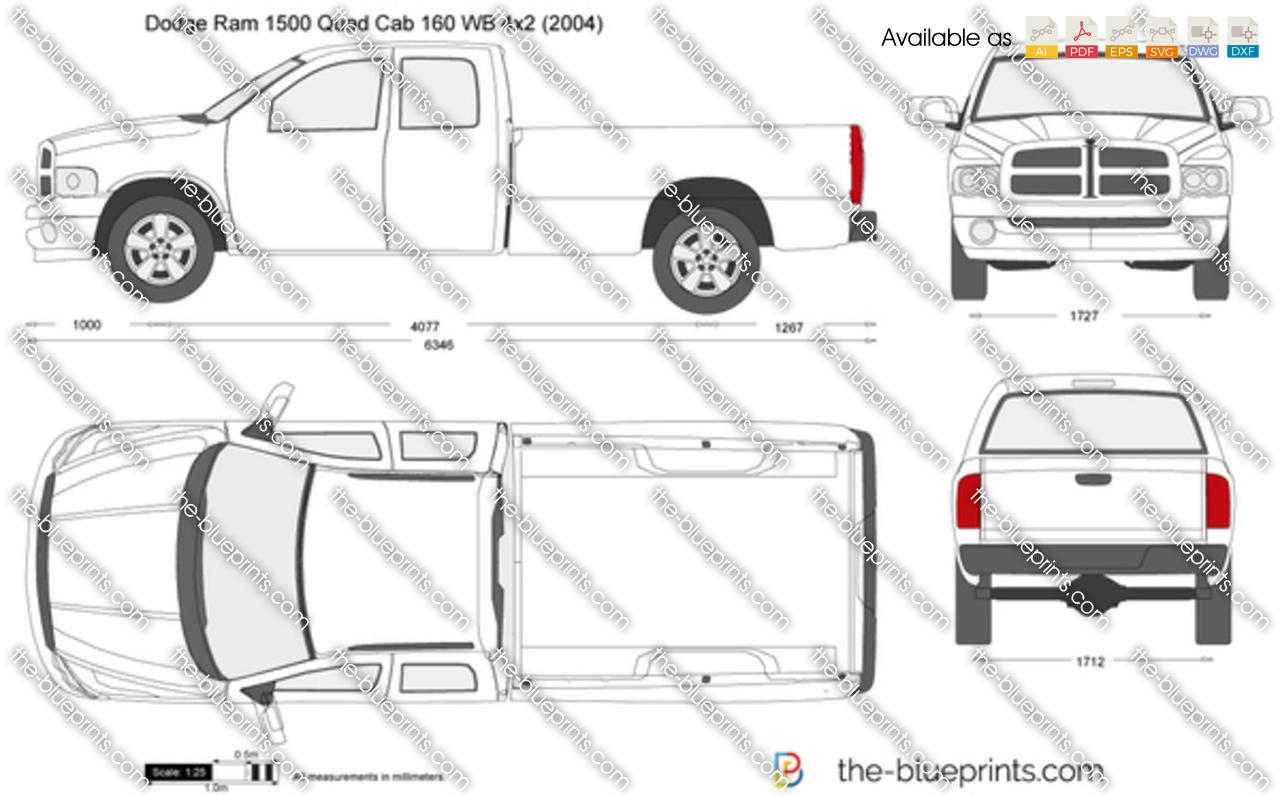 Dodge Ram 1500 Quad Cab 160 WB 4x2 vector drawing