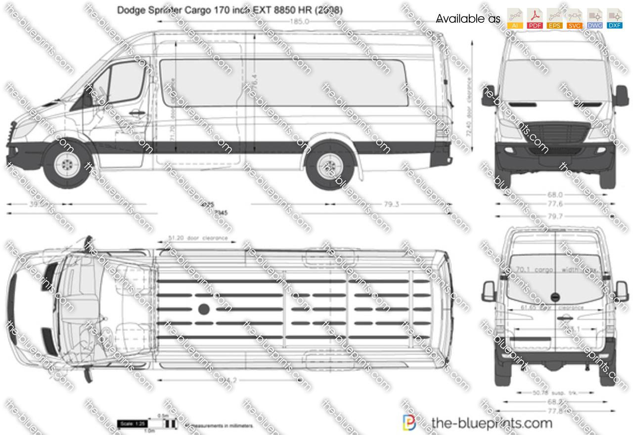 Dodge Sprinter Cargo 170 inch EXT 8850 HR vector drawing