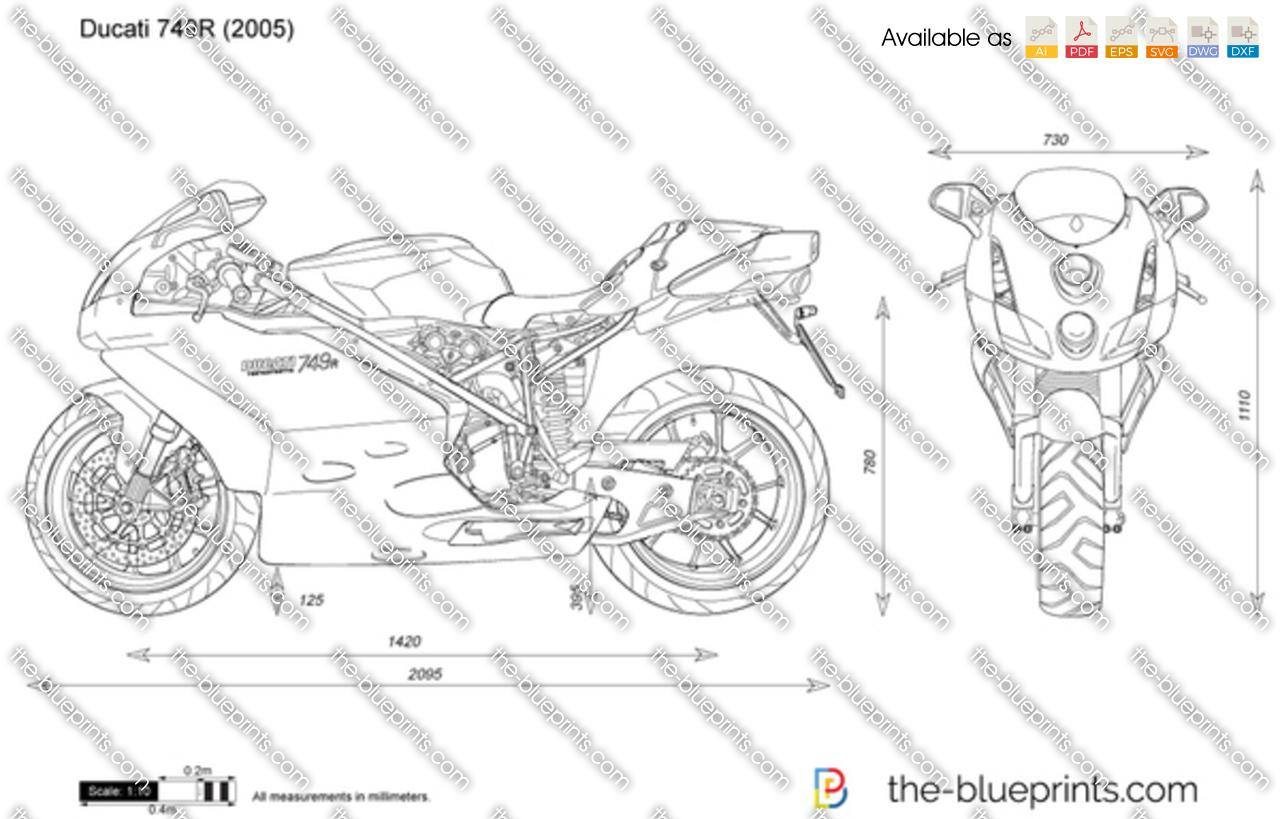 Ducati 749R vector drawing