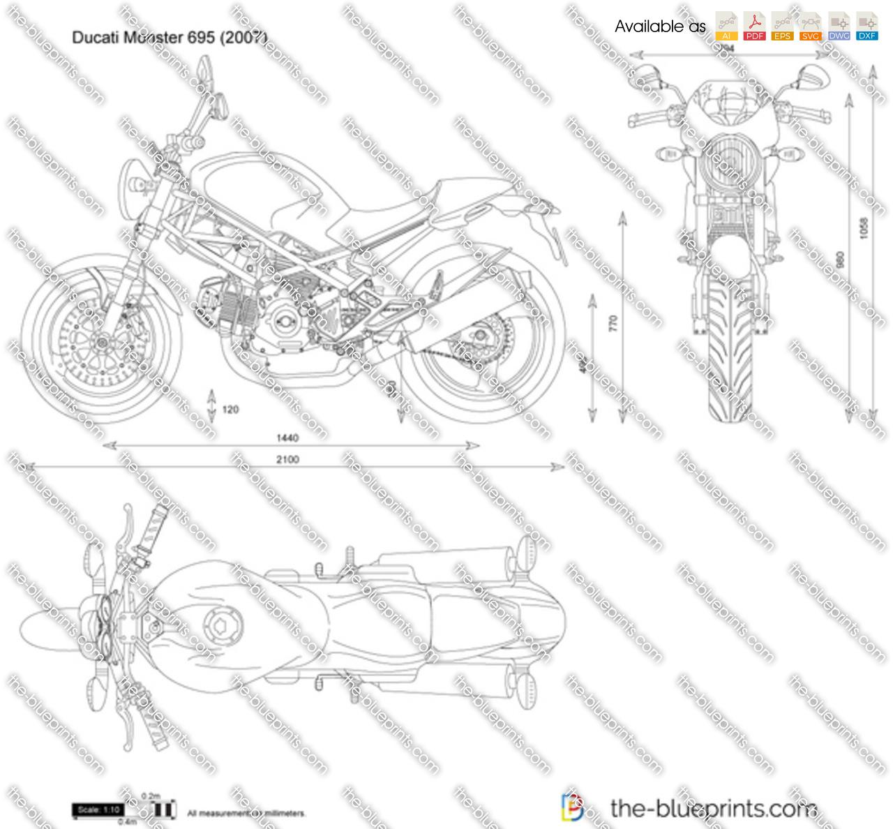 Ducati Monster 695 vector drawing
