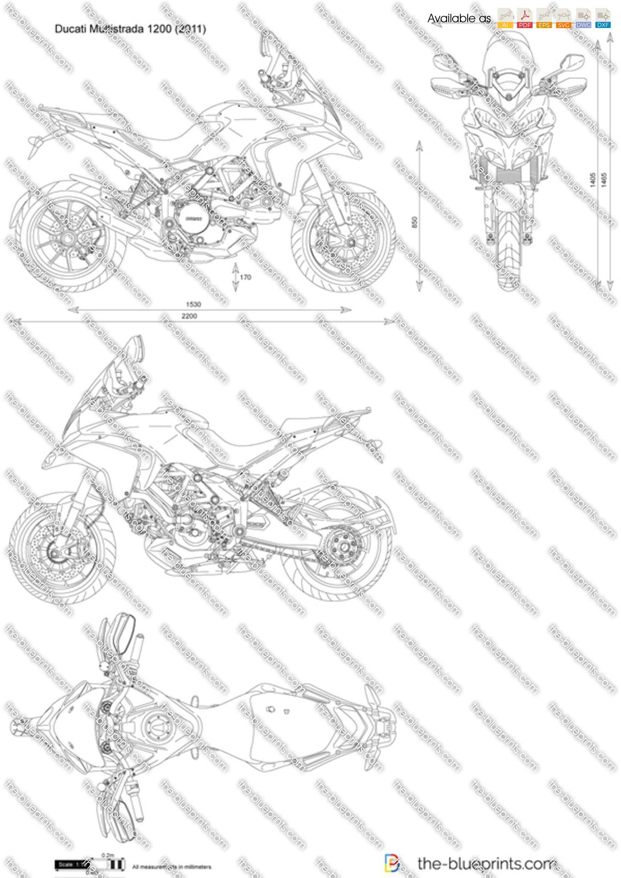 Ducati Multistrada 1200 vector drawing