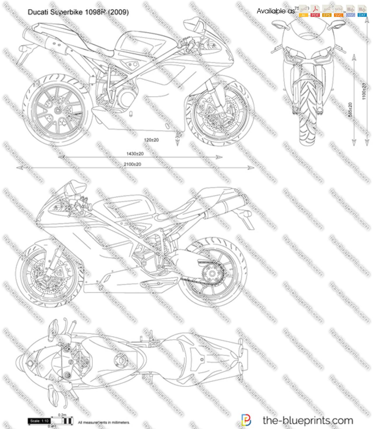 Ducati Superbike 1098R vector drawing