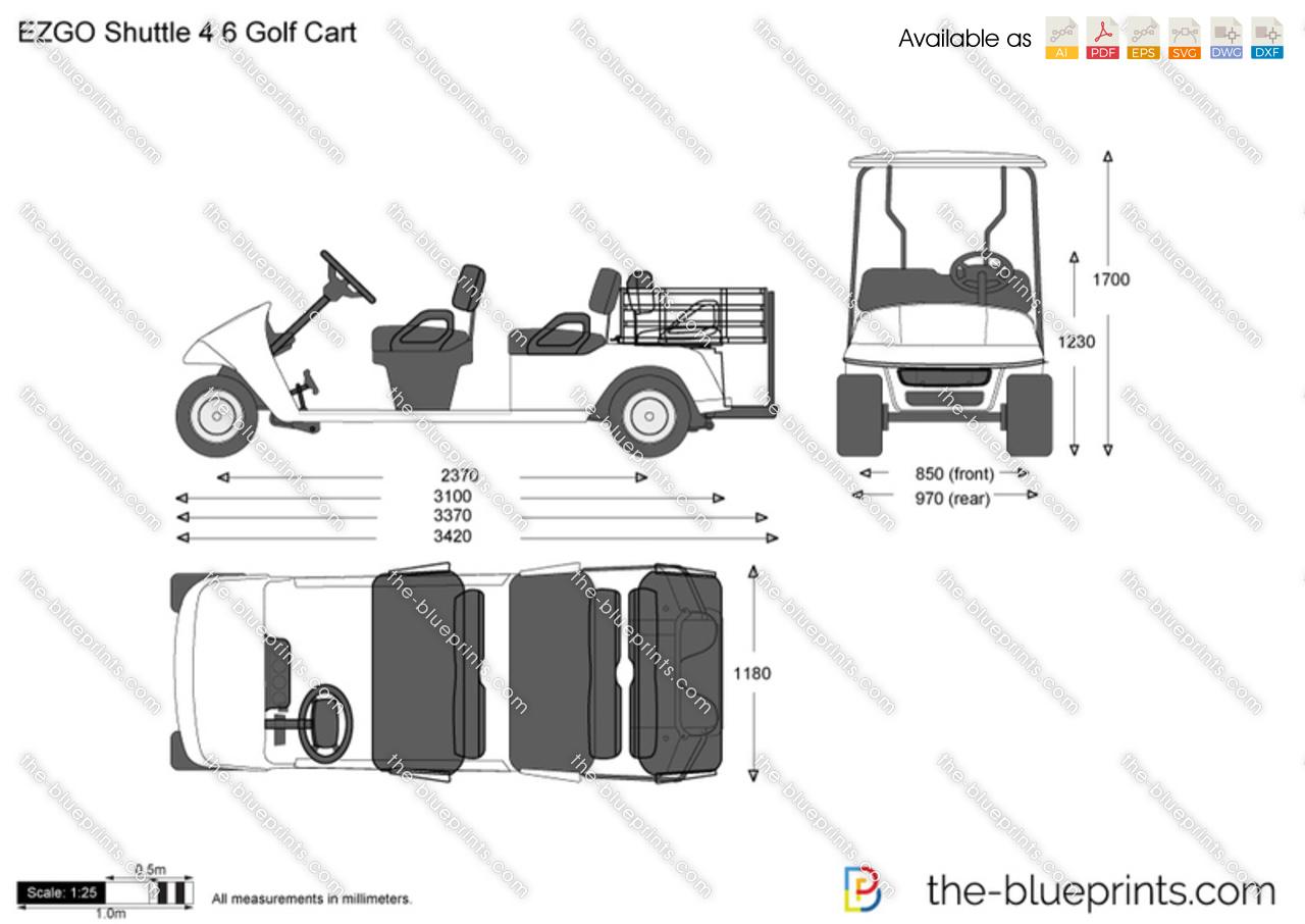 Ezgo Shuttle 4 6 Golf Cart Vector Drawing
