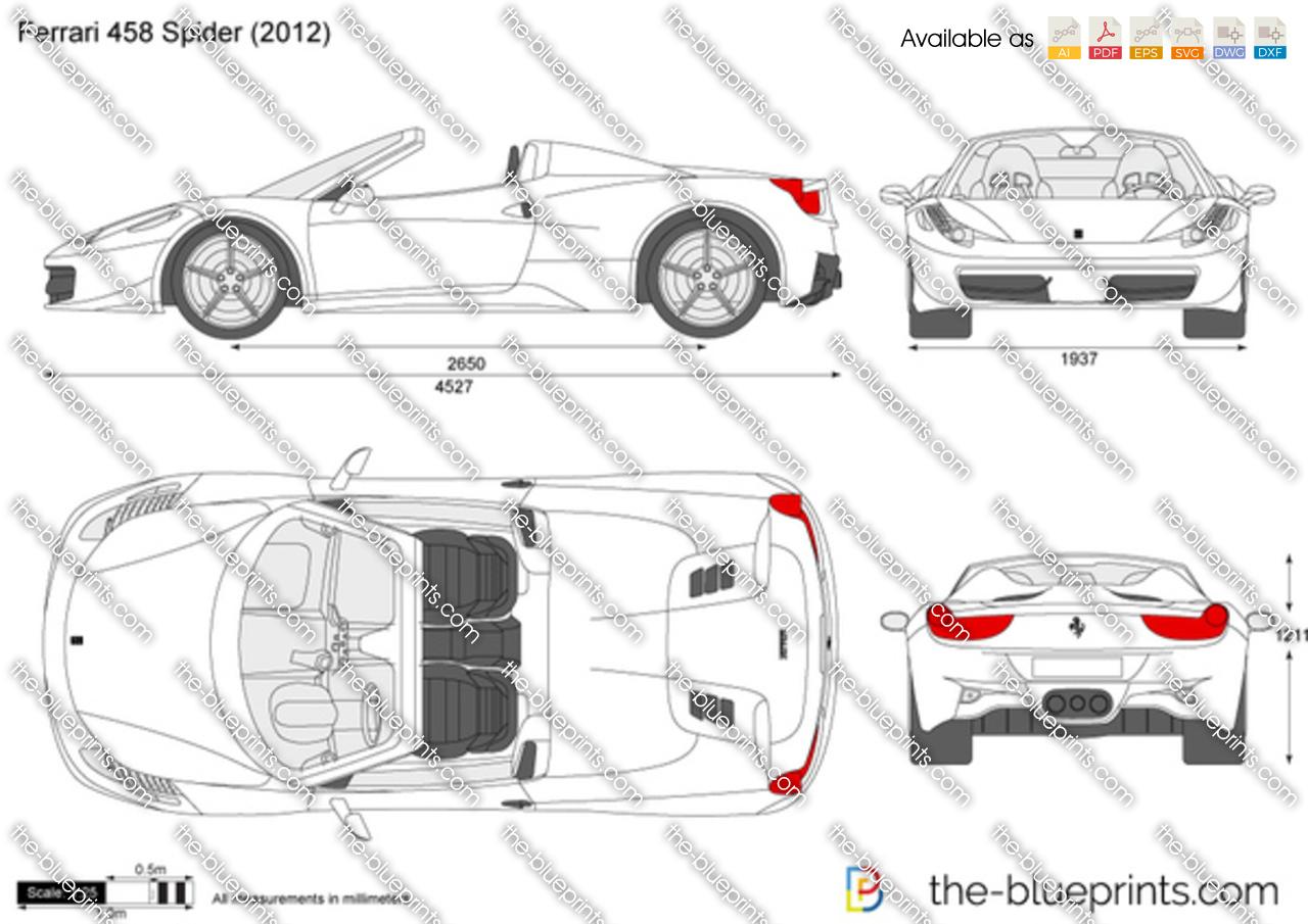 Ferrari 458 Spider vector drawing