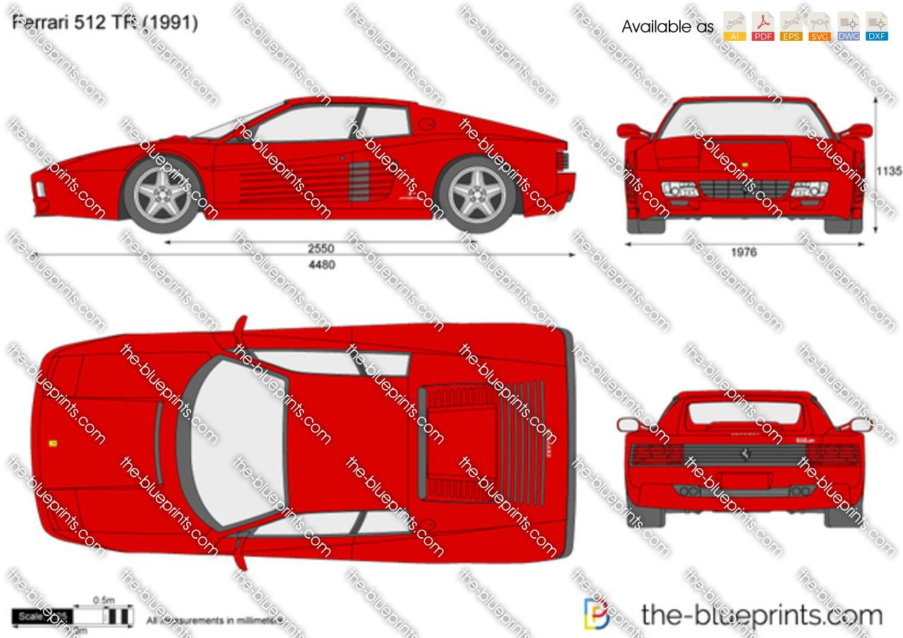 Ferrari 512 TR vector drawing