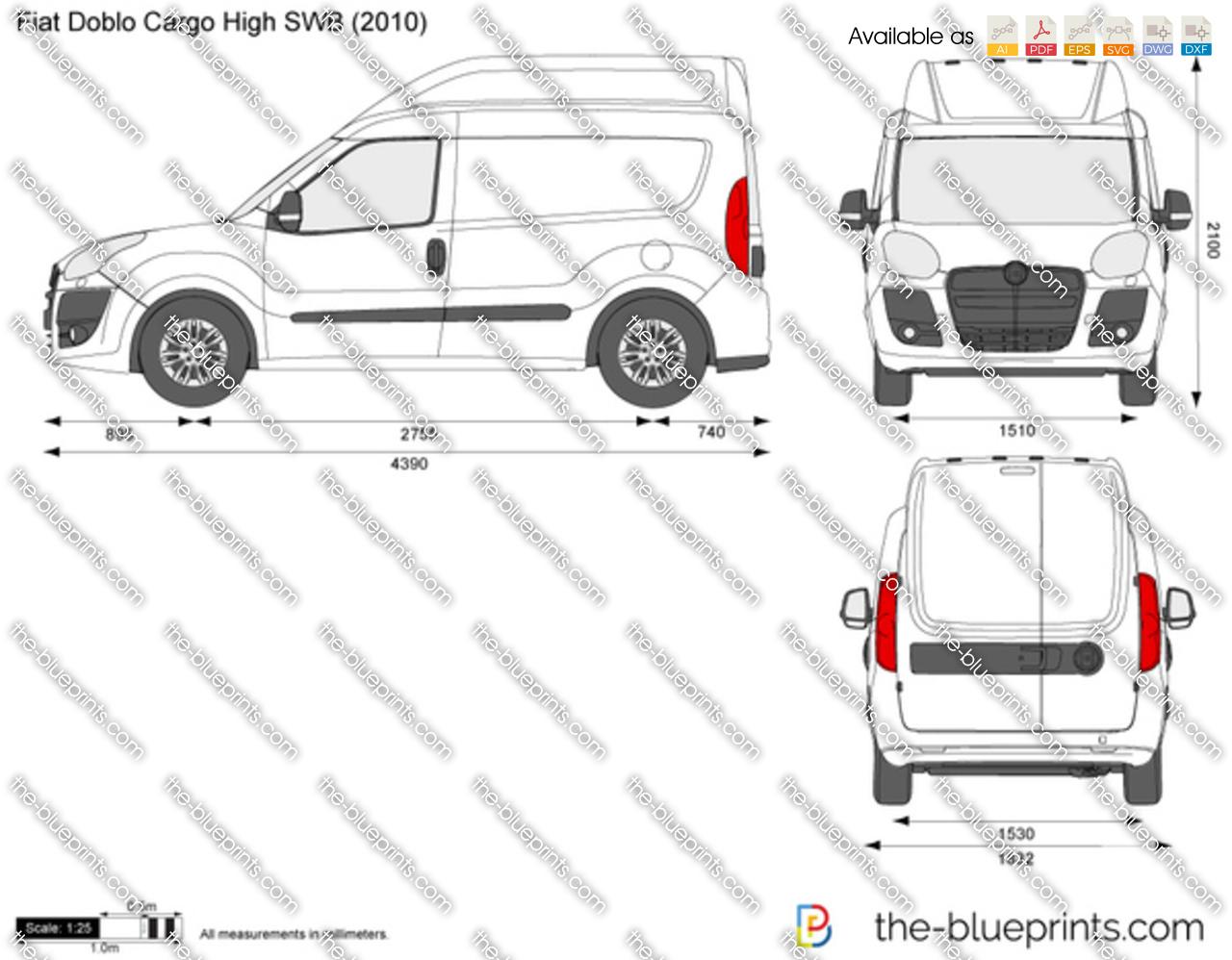 Fiat Doblo Cargo High SWB vector drawing