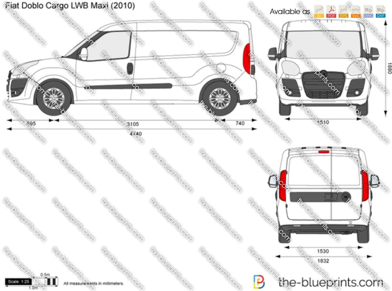 Fiat Doblo Cargo LWB Maxi vector drawing