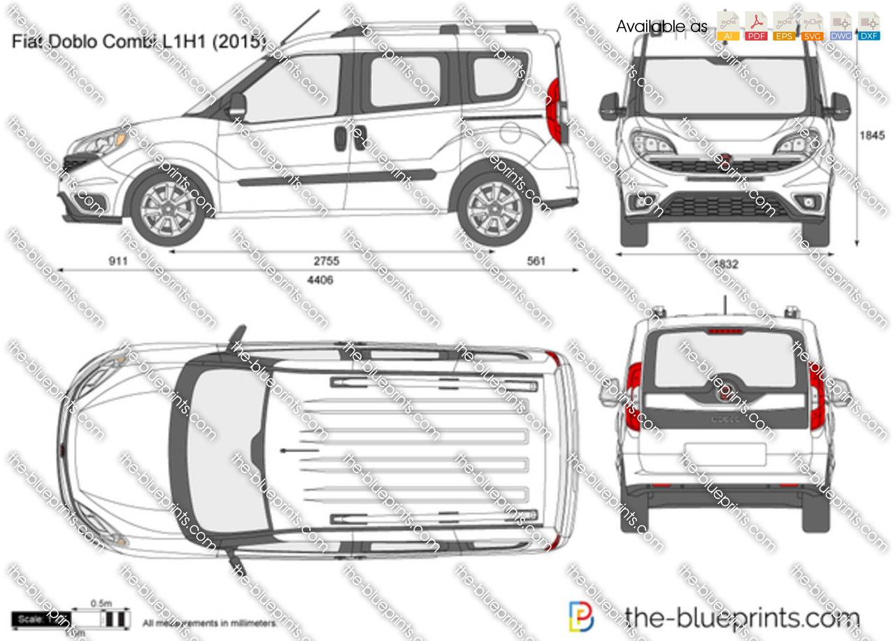 Fiat Doblo Combi L1H1 vector drawing