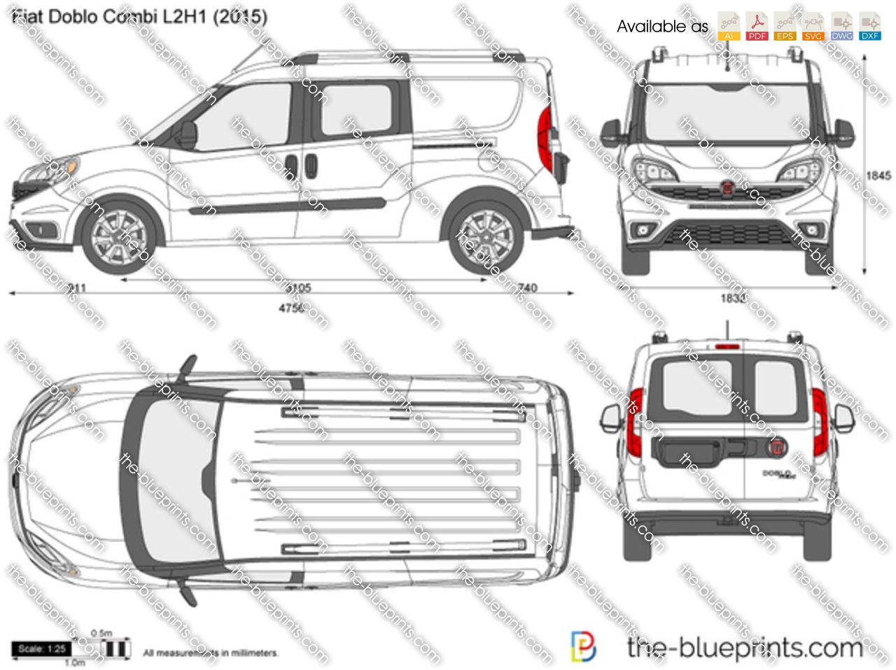 Fiat Doblo Combi L2H1 vector drawing