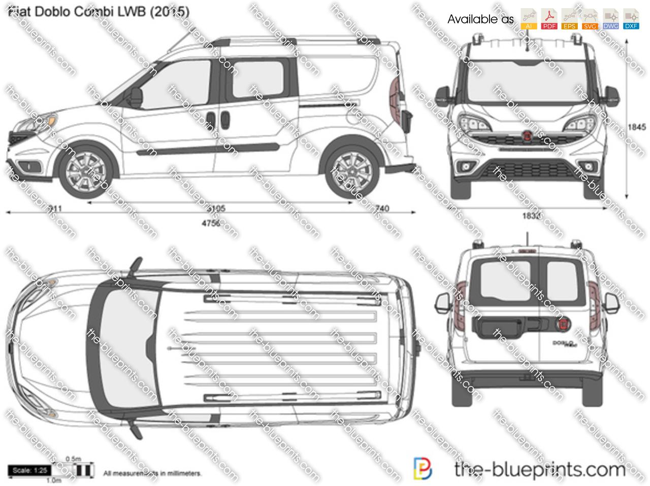Fiat Doblo LWB Combi Maxi vector drawing