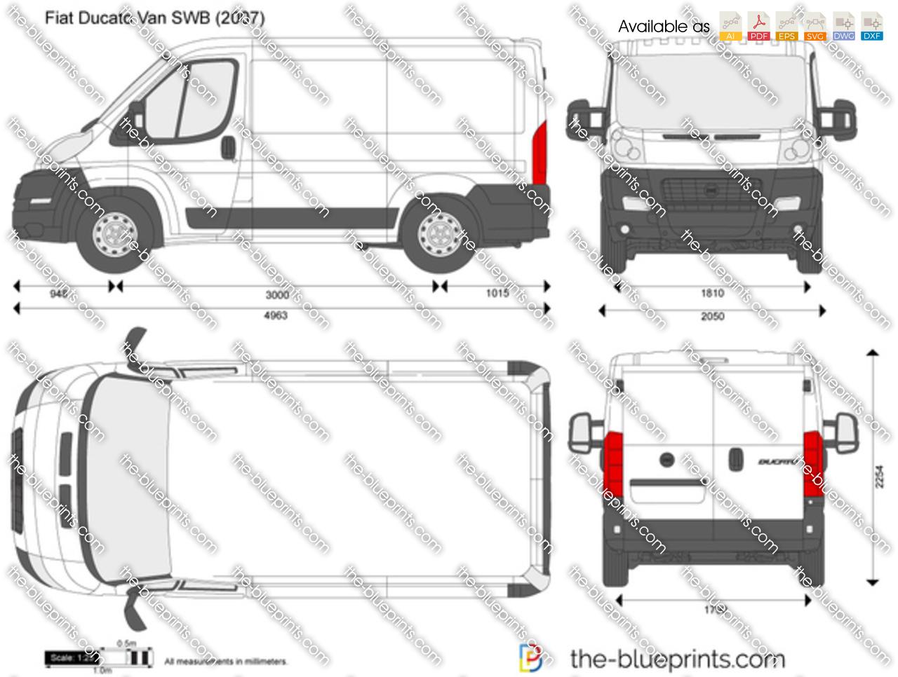 Fiat Ducato Van SWB vector drawing