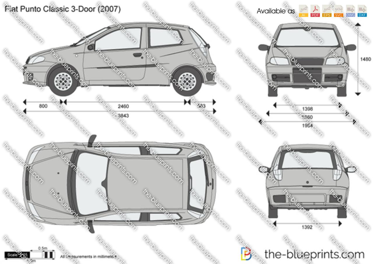 Fiat Punto Classic 3-Door vector drawing