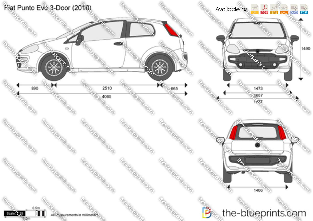 Fiat Punto Evo 3-Door vector drawing
