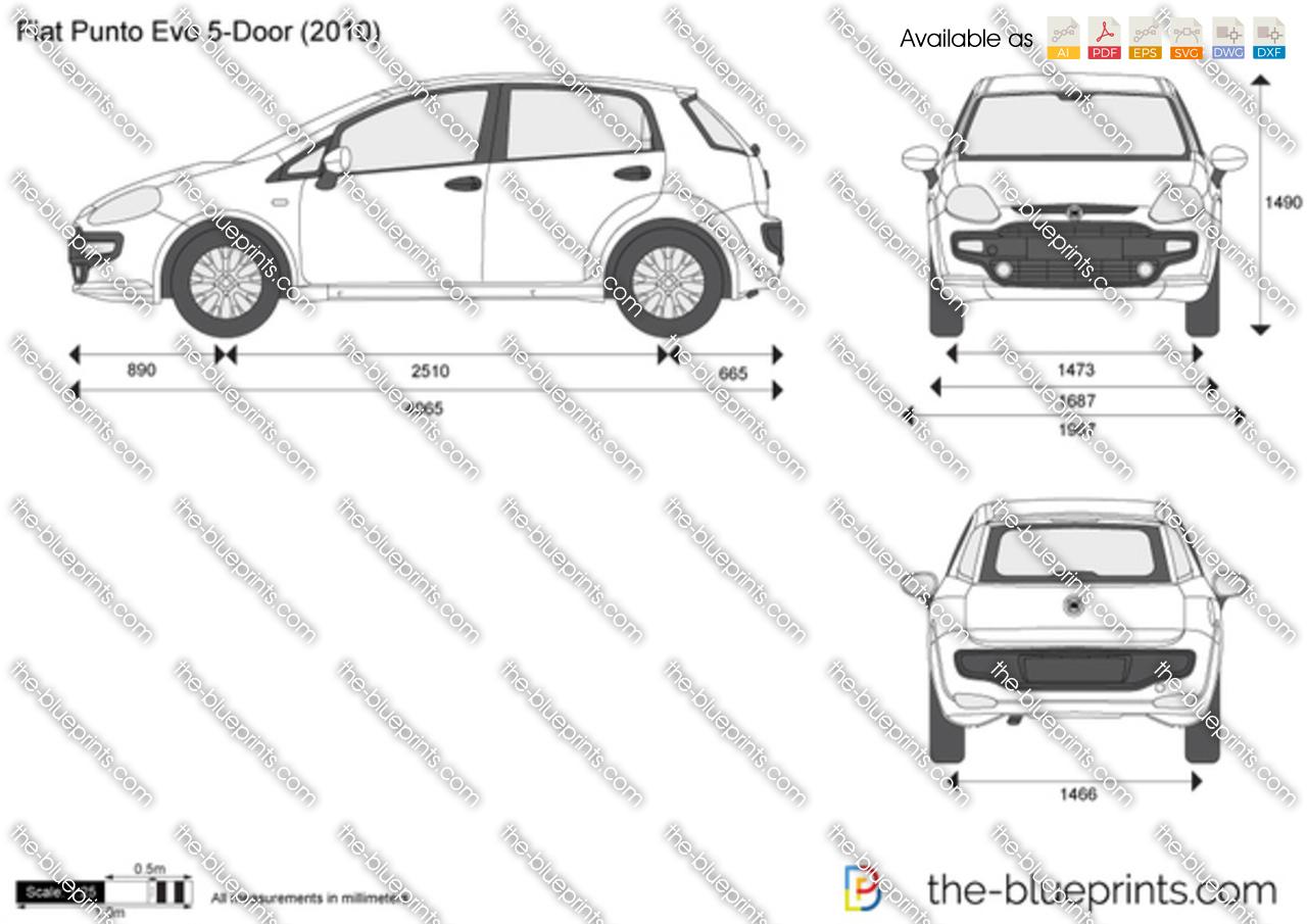 Fiat Punto Evo 5-Door vector drawing