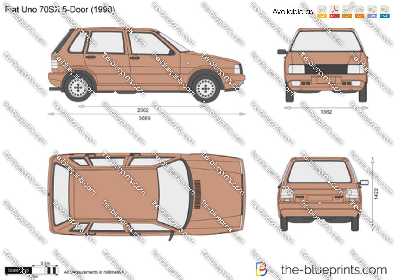Fiat Uno 70SX 5-Door vector drawing