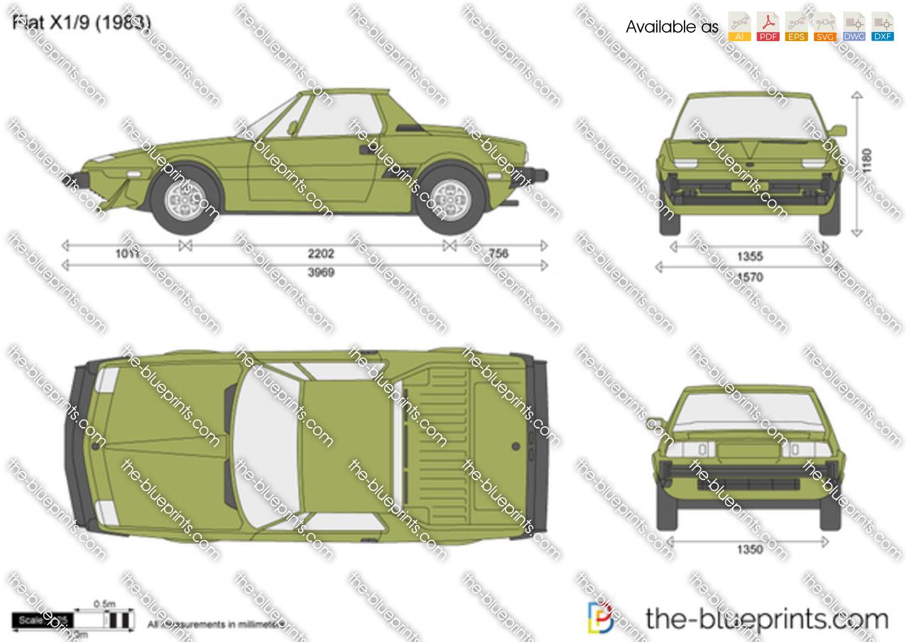Fiat X1/9 vector drawing