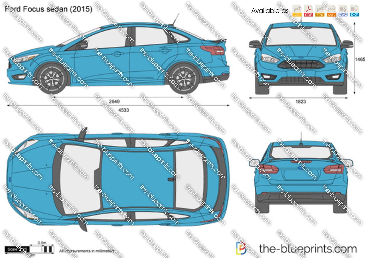 Ford Focus sedan vector drawing